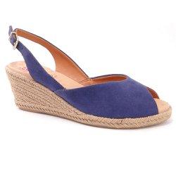 Sandália Anabela Salto Baixo Corda Malu - Azul - MA86346 - Pé Relax Sapatos Confortáveis