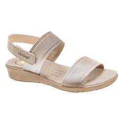 Sandália Anatômica Feminina - Bege - MA10065B - Pé Relax Sapatos Confortáveis