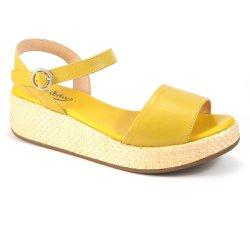 Anabela Confortável em Couro - Amarela - VP105048 - Pé Relax Sapatos Confortáveis