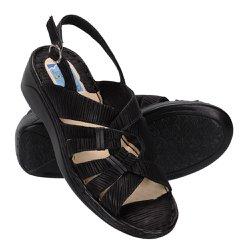 Sandália Confortável Para Senhoras - Preta - FB266P - Pé Relax Sapatos Confortáveis