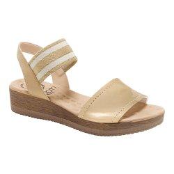 Sandália Anabela Confortável - Bege - MA537018B - Pé Relax Sapatos Confortáveis