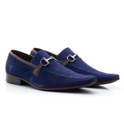 Sapato Masculino Casual Nobuck Azul - BI404A - Pé Relax Sapatos Confortáveis
