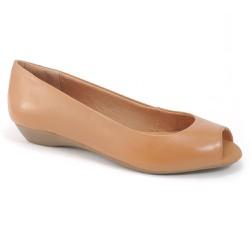 Peep Toe Saltinho em Couro - Marrom - VP1510 - Pé Relax Sapatos Confortáveis