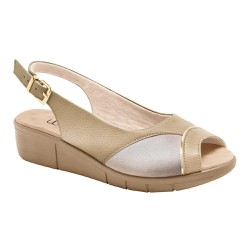 Sandália Para Joanete E Fascite - Ligth Tan / Lycra Bistrô - MA585013B - Pé Relax Sapatos Confortáveis