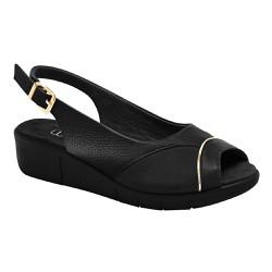 Sandália Feminina Para Joanete - Preto Metalizado Pewter - MA585013P - Pé Relax Sapatos Confortáveis