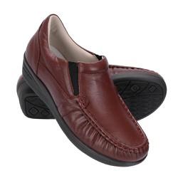 Sapato Feminino de Couro - Vinho - FB8005V - Pé Relax Sapatos Confortáveis
