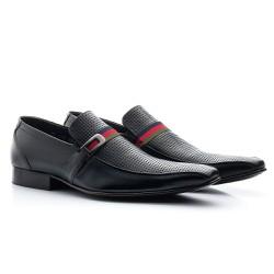 Sapato Masculino Solado de Couro Preto - BI329P - Pé Relax Sapatos Confortáveis