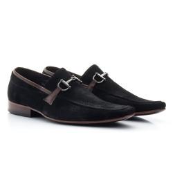 Sapato Masculino Casual Nobuck Preto - BI404P - Pé Relax Sapatos Confortáveis
