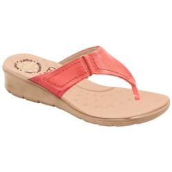 Chinelo Feminino para Pés Largos e Inchados - Soft Coral - MA10007NPTP - Pé Relax Sapatos Confortáveis