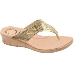 Chinelo Feminino Anatômico - Cobra Metal Light Gold - MA10007NPLG - Pé Relax Sapatos Confortáveis