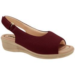 Sandália em Tecido - Vinho - CF2088304VN - Pé Relax Sapatos Confortáveis