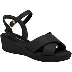 Sandália Anabela Salto Baixo - Preta - PI565011PT - Pé Relax Sapatos Confortáveis