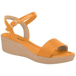Sandália Anabela Salto Baixo - Amarelo - PI565010AM - Pé Relax Sapatos Confortáveis