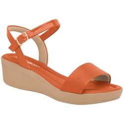 Sandália Anabela Salto Baixo - Laranja - PI565010LJ - Pé Relax Sapatos Confortáveis
