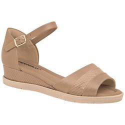 Sandália Anabela Confortável - Areia - PI458004AR - Pé Relax Sapatos Confortáveis