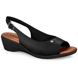 Sandália Confortável - Preta - CAL6628PT - Pé Relax Sapatos Confortáveis
