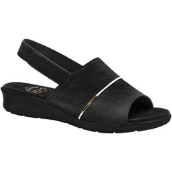 Sandália com Velcro para Esporão, Fascite e Joanete - Preta - MA10095PT - Pé Relax Sapatos Confortáveis