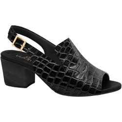 Sandália Ankle Boot Confortável - Croco Preta - MA176099PT - Pé Relax Sapatos Confortáveis