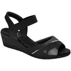 Sandália Anabela Joanete Com Velcro - New Nassau Preto - MA206050NNP - Pé Relax Sapatos Confortáveis