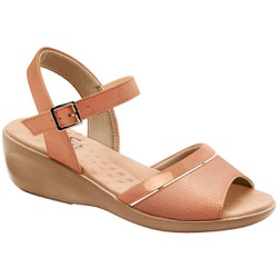 Sandália Comfort Feminina - Bege - MA413028BG - Pé Relax Sapatos Confortáveis