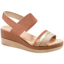Sandália Anabela Super Comfort- Brenda Areia - MA581037BG - Pé Relax Sapatos Confortáveis