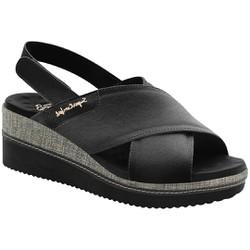 Sandália Anabela Confortável - Preta - MA581046PT - Pé Relax Sapatos Confortáveis