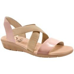 Sandália Confort Feminina - Velvet Bege - MA10062B - Pé Relax Sapatos Confortáveis