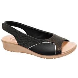 Sandália para Joanete - Lezard / Lycra Preto / Sola Areia - MA10073PS - Pé Relax Sapatos Confortáveis