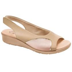 Sandália para Joanete - Mini Relax Light Tan / Lycra Bistrô - MA10073LT - Pé Relax Sapatos Confortáveis