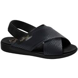 Sandália Feminina Ortopédica - Lycra Snake Preto / Sola Preta - MA14031SP - Pé Relax Sapatos Confortáveis