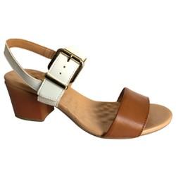 Sandália Confortável - Branca/Marrom - MA176072CB - Pé Relax Sapatos Confortáveis