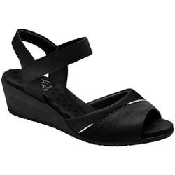 Sandália Anabela Joanete Com Velcro - Preta - MA206050P - Pé Relax Sapatos Confortáveis