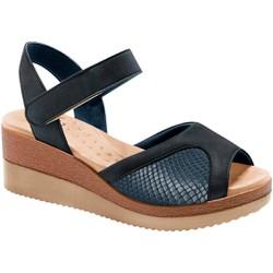 Sandália Anabela para Joanete - Marinho / Lycra Snake Azul - MA581025MLSA - Pé Relax Sapatos Confortáveis