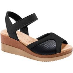 Sandália Anabela para Joanete - Fenice Preta / Sola Areia - MA581025VPT - Pé Relax Sapatos Confortáveis
