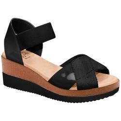 Sandália Anabela Confortável - Preto - MA581039PP - Pé Relax Sapatos Confortáveis