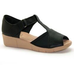 Sandália Fechada Para Joanete Feminina - Preta - MA585012P - Pé Relax Sapatos Confortáveis