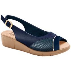 Sandália Feminina Para Joanete - Mini Relax Eclipse / Lycra Snake Azul - MA585013PA - Pé Relax Sapatos Confortáveis