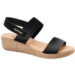 Sandália Ortopédica Feminina - Lycra Preta - MA585030PT - Pé Relax Sapatos Confortáveis