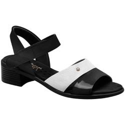 Sandália Salto Baixo - Preto e Branca - MA818008PT - Pé Relax Sapatos Confortáveis