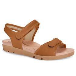Sandália Feminina com Regulagem em Velcro - Caramelo - CAL5922CA - Pé Relax Sapatos Confortáveis
