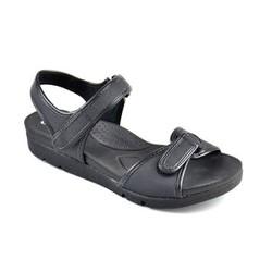 Sandália Feminina com Regulagem em Velcro - Preta - CAL5922PT - Pé Relax Sapatos Confortáveis