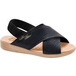 Sandália para Senhoras Esporão e Fascite - Lycra Snake Preta / Sola Areia - MA14031PT - Pé Relax Sapatos Confortáveis