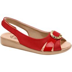 Sandália Feminina para Esporão e Fascite com Velcro -Scarlat / Vermelha - MA14041VM - Pé Relax Sapatos Confortáveis