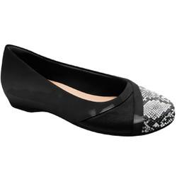 Sapatilha Feminina Salto Interno - Preta - MA116042P - Pé Relax Sapatos Confortáveis