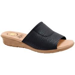 Tamanco para Joanete Feminino - Snake Preto / Sola Areia - MA10061PTAV - Pé Relax Sapatos Confortáveis