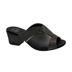 Tamanco Mule para Joanete - Lezard Preto - MA176084 - Pé Relax Sapatos Confortáveis