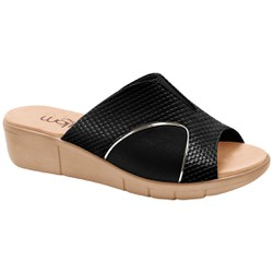 Tamanco para Joanete - Snake Lycra Preto Sola Areia - MA585018P - Pé Relax Sapatos Confortáveis