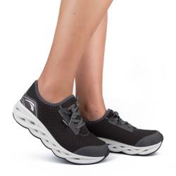 Tênis para Caminhada com Palmilha Massageadora - Chumbo - KOK5003CH - Pé Relax Sapatos Confortáveis