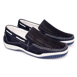 Mocassim Masculino Nobuck Tamanho Grande - Azul - FB6008A - TG - Pé Relax Sapatos Confortáveis
