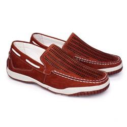 Mocassim Masculino Nobuck Anti Estresse - Bordô - FB6008BO - Pé Relax Sapatos Confortáveis